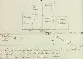 Veldwachter Leendert Hamelink maakte een schets zodat de rechters konden zien waar alle betrokkenen hadden gestaan tijdens de dodelijke steekpartij.