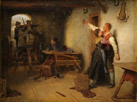 --- BIJSCHRIFT: Nach den Rauferei (1903) van Hugo Wilhelm Kaufmann (1844-1915).