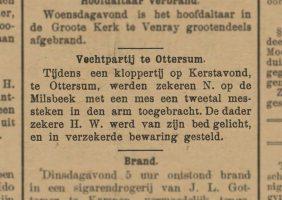 Artikel uit de Provinciale Geldersche en Nijmeegsche Courant van 30 december 1910 over de steekpartij.