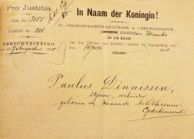 Eerste pagina van het vonnis van de rechtbank waarin Dinnissen werd veroordeeld.