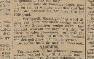 Bericht uit het Boxmeers Weekblad over de ruzie tussen de twee broers.