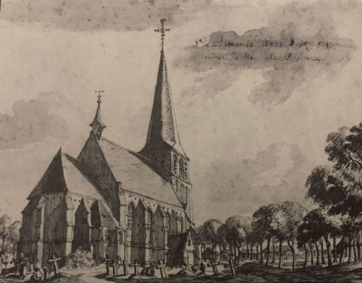 De kerk van Antonius Abt in Sint Anthonis, getekend door Jan de Beijer in 1743.